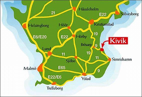 Karta Kivik Sverige.Thina S Site