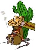 schlafende mexikanische Clipart-Maus am Kaktus
