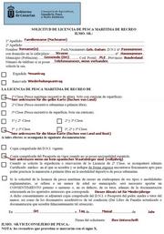 Angelschein-Antrag spanisch mit deutscher Erklärung Insel Fuerteventura Kanaren Spanien