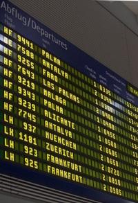 Abflugtafel Airport Nürnberg fur den Flug nach Malaga Andalusien Spanien mit James Bond