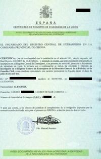 N.I.E.-Nummer und Residencia - Spanien