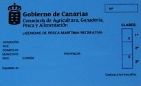 blauer Angelkarte Angelberechtigung Angelschein fischen von Land und Boot Insel Fuerteventura Kanaren Spanien