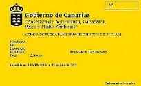 gelber Angelkarte Angelberechtigung Angelschein fischen von Land Insel Fuerteventura Kanaren Spanien