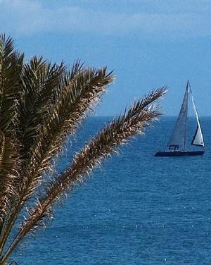 Aussicht vom Strandapartment in Fuengirola an der Costa del Sol auf das Mittelmeer  - Andalusien - Spanien