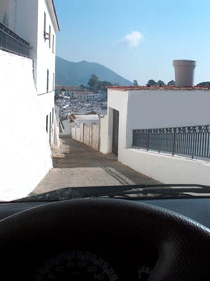 Straße in Mijas Pueblo in der Provinz Málaga Andalusien Spanien