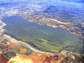 Naturschutzgebiet Laguna Fuente de la Piedra aus der Vogelperspektive Provinz Malaga Andalusien Spanien