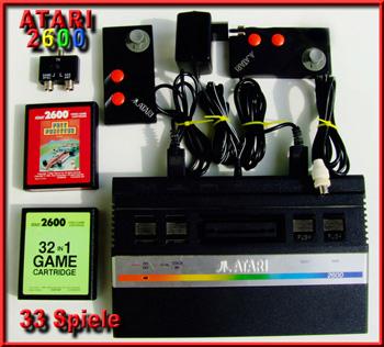 Atari 2600 mit 33 Spiele, Antennenkabel und manuell stelbare Antennenweiche