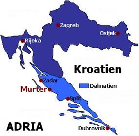 Landkarte Dalmatien Kroatien