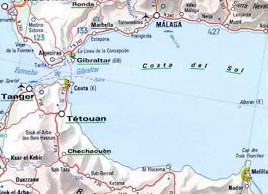 Provinz - Landkarte Enklave Ceuta - Spanien
