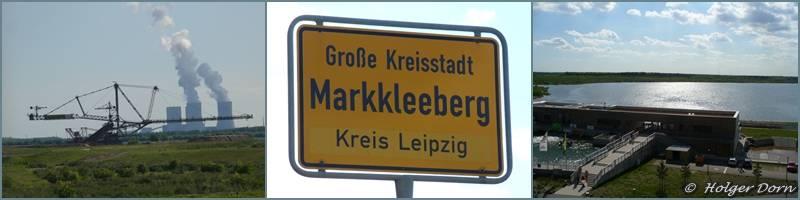 links Blick zum Kraftwerk Lippendorf - rechts Blick zum Markkleeberger See
