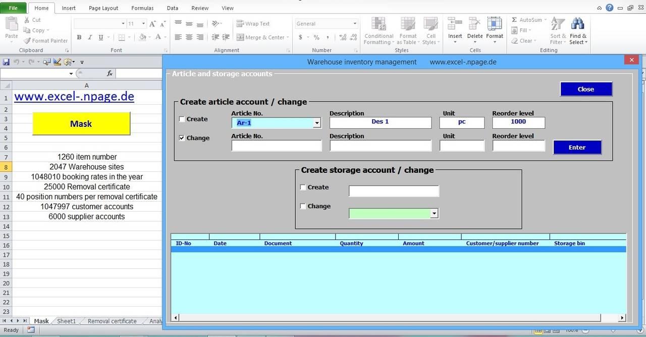 Name management vba - 2_warehouse Management Program Article And Storage Accounts Excel Vba Programming