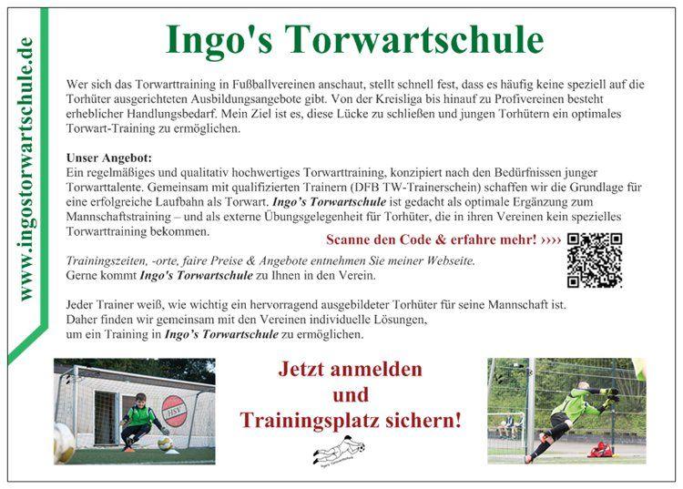 Flyer Ingo's Torwartschule (Rückseite)