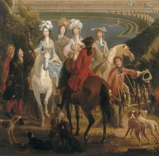 Marie-Adélaïde de Savoie, Duchesse de Bourgogne, bei der Jagd nahe der Orangerie (Pierre Denis Martin)