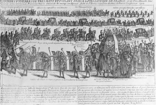 Beerdigung des Louis de Bourgogne und seiner Gattin Marie-Adélaïde de Savoie am 23.02.1712 (François-Gérard Jollain)