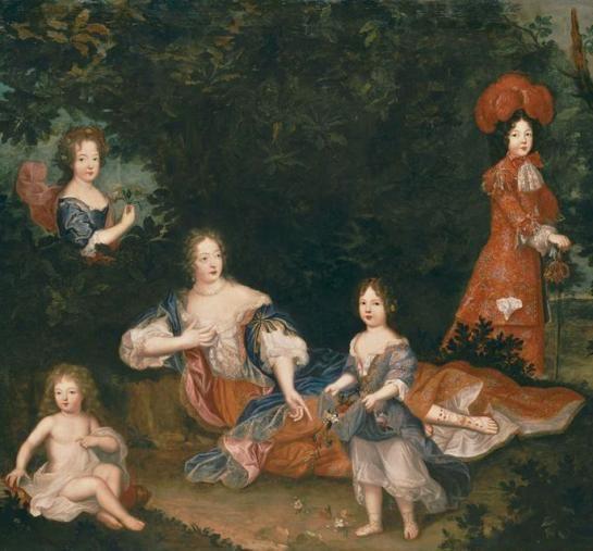 Françoise Marie mit ihrer Mutter, Madame de Montespan, und den Geschwistern (Pierre Mignard)