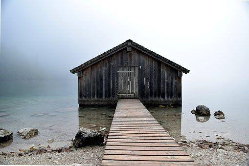 Bergsee, Wasser, Hütte, Nebel, Steine