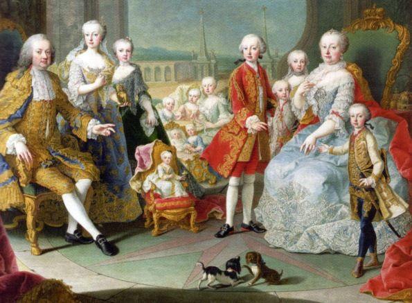 Die Kaiserliche Familie auf der Schönbrunner Schloßterrasse (1755, Martin van Meytens, der Jüngere)
