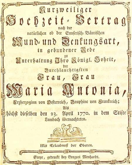"""Titelseite des Programmhefts zur Aufführung """"Kurzweiliger Hochzeitsvertrag"""" im Stift Lambach"""