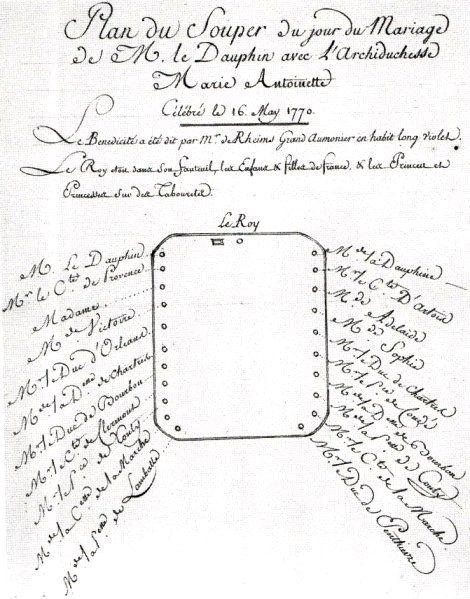 Sitzordnung - Plan du Souper du jour du mariage de M. le Dauphin avec l´archiduchesse Marie Antoinette