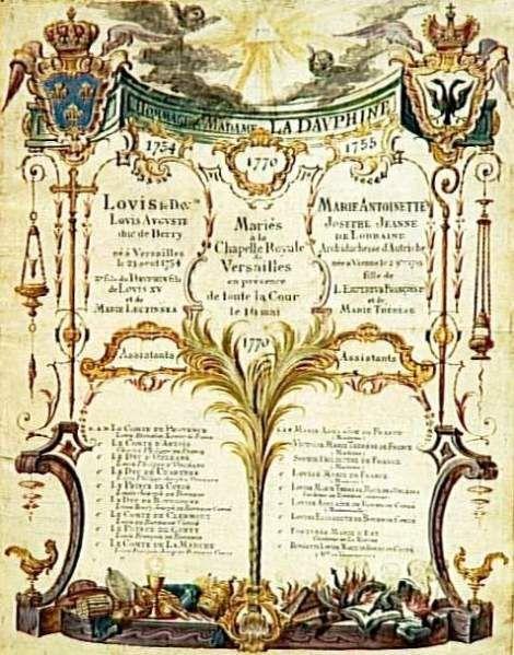Tableau des princes et princesses témoin au mariage à Versailles du Louis Auguste et Marie Antoinette