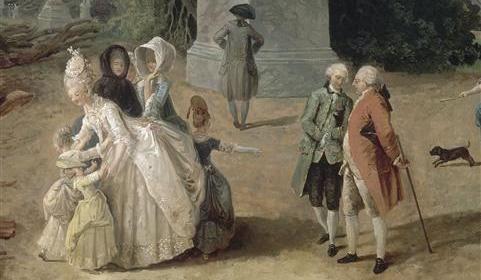 """Vue du Tapis Vert à Versailles"", hier: Ausschnitt mit Königin Marie Antoinette und Louis XVI. (1774/75 Hubert Robert)"