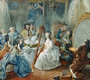 die Dauphine beim Harfe-Spiel (1774, Jean-Baptiste Gautier Dagoty)