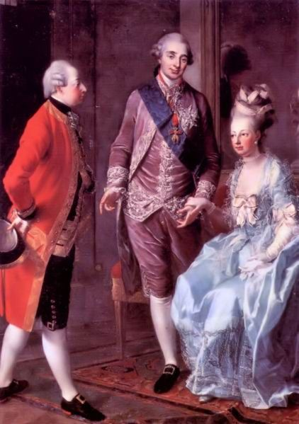 Besuch des Bruders Maximilian in Versailles - v.l.n.r.: Maximilian, Louis XVI., Marie Antoinette (1775/77, Joseph Hauzinger)