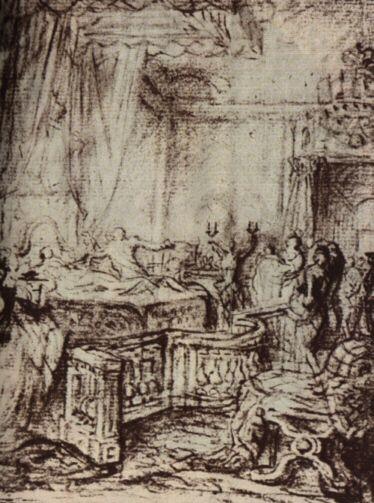 Geburt der Mme Royale (Gabriel de Saint-Aubin)