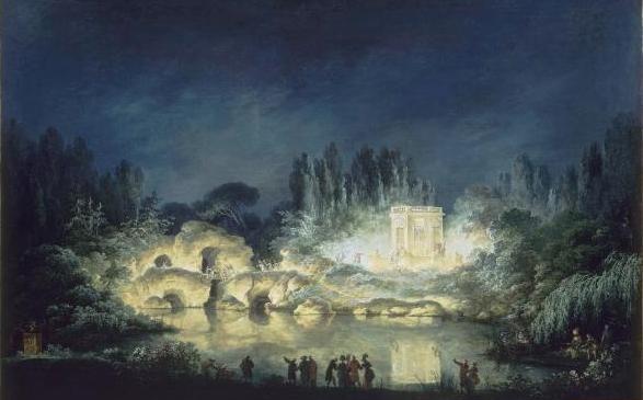 Illumination des Pavillon du Belvédère anlässlich des Festes zu Ehren des Kaisers (1781, Claude Louis Châtelet)