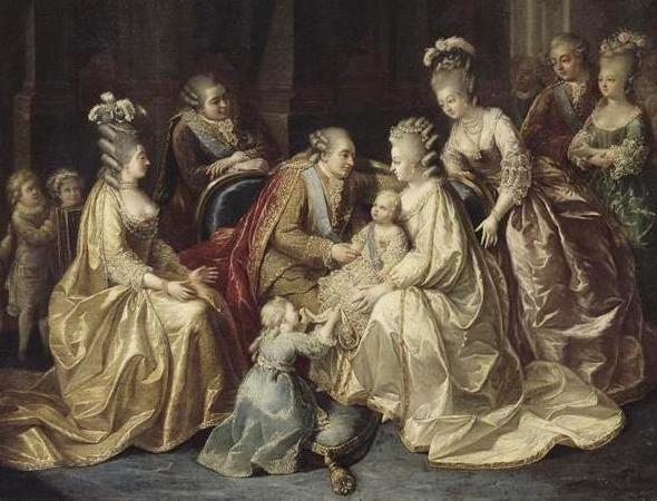 Die gesamte Königliche Familie, vereint um das Königspaar und den Dauphin, 1781 (unbekannter Künstler)