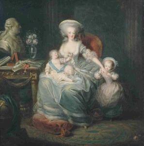 Marie Antoinette mit ihren Kindern Marie-Thérèse und Louis-Joseph, neben ihnen die Büste des Königs (1782, Charles Leclercq)