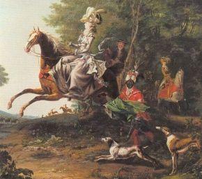 Marie Antoinette bei der Jagd; im Hintergrund: Louis XVI. (1783, Louis-Auguste Brun)