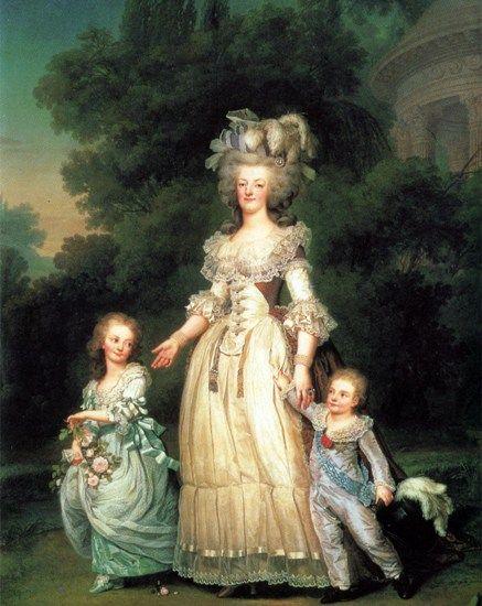 Marie Antoinette mit ihren Kindern Mme Royale & Louis-Joseph im Park von Trianon (1785, Adolf Ulrich Wertmüller)