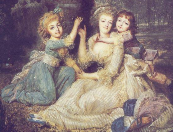 Marie Antoinette mit Mme Royale & Louis Charles im Tuilerienpark (1790, François Dumont)