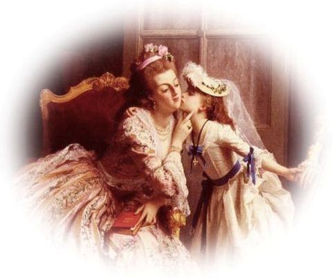 """A fond farewell"" - Marie Antoinette und ihre Tochter Marie-Thérèse-Charlotte de Bourbon (1870, Joseph Caraud)"