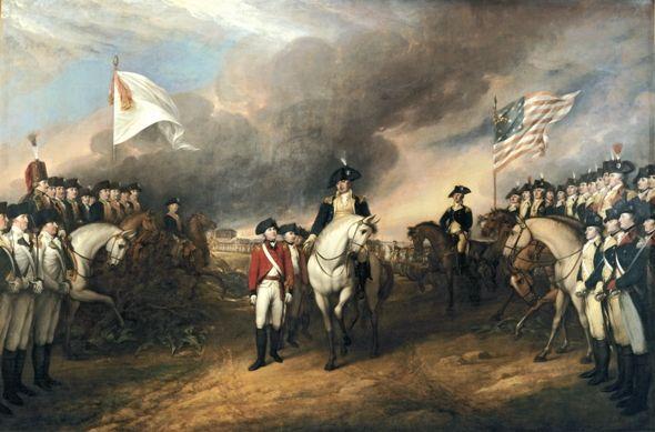 """Surrender of Lord Cornwallis"", Yorktown 1781 (1817, John Trumbull)"