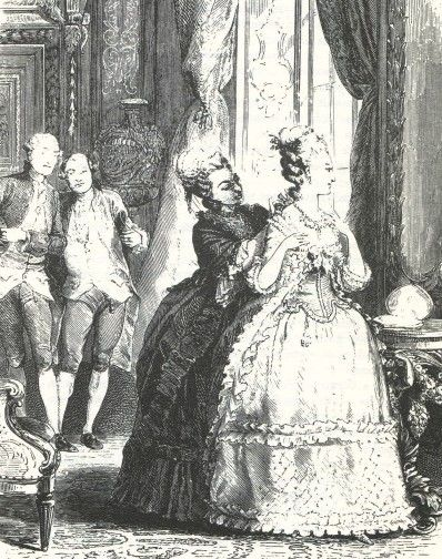 Die Juweliere bieten der Königin das Collier an.