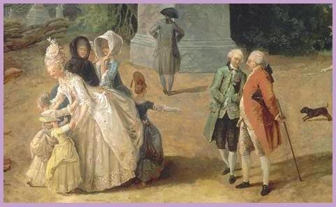 """(Ausschnitt) """"Le Tapis Vert au moment de l´abattage des arbres"""", in den Gärten von Versailles - im Vordergrund: Louis XVI. und Marie Antoinette (Winter 1774/75, Hubert Robert)"""