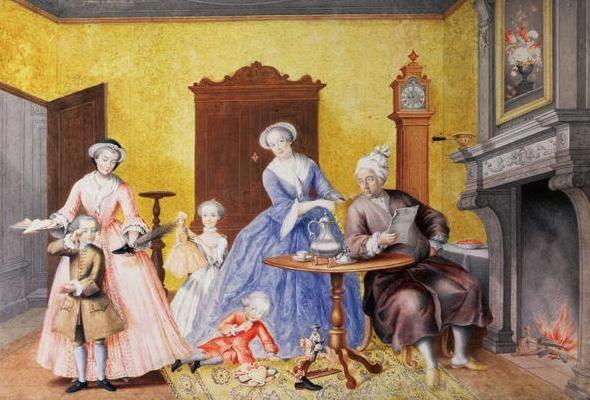 La Fête de la Saint-Nicolas - Familienbildnis: Maria Christina mit ihren Eltern und den Geschwistern Ferdinand, Maria Antonia und Maximilian (1762, Maria Christina)