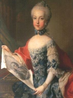 Maria Karolina von Österreich mit einem Bildnis ihres Vaters