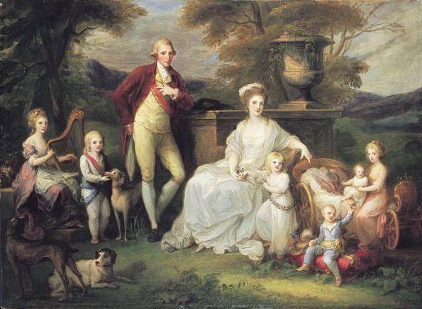 Maria Karolina mit ihrem Ehemann Ferdinand I. von Neapel-Sizilien und den gemeinsamen Kindern (1783, Angelika Kauffmann)