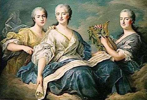 ´Mesdames de France´ - Mme Victoire, Mme Adélaide & Mme Sophie, die Töchter des Königs - von Marie Antoinette ´die Tanten´genannt (François-Hubert Drouais)