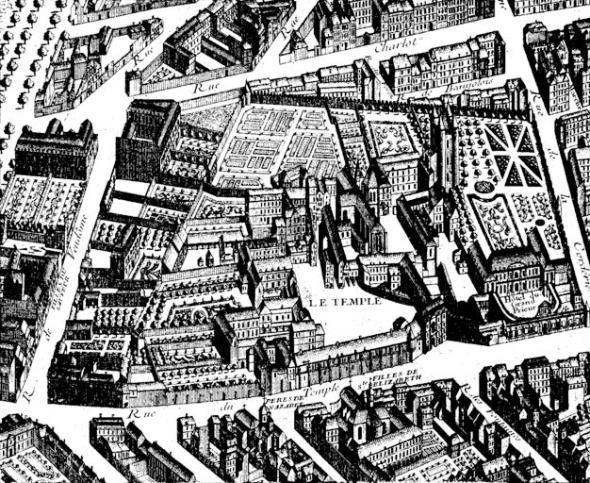 Übersicht über den Temple-Komplex um 1734 (1882, Théodor-Joseph-Hubert Hoffbauer)