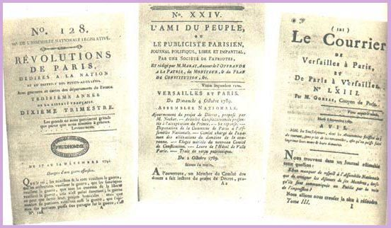 "zeitgenössische Zeitungen ""Révolution de Paris"", ""l´Ami du peuple"" und ""Le Courrier de Versailles"""