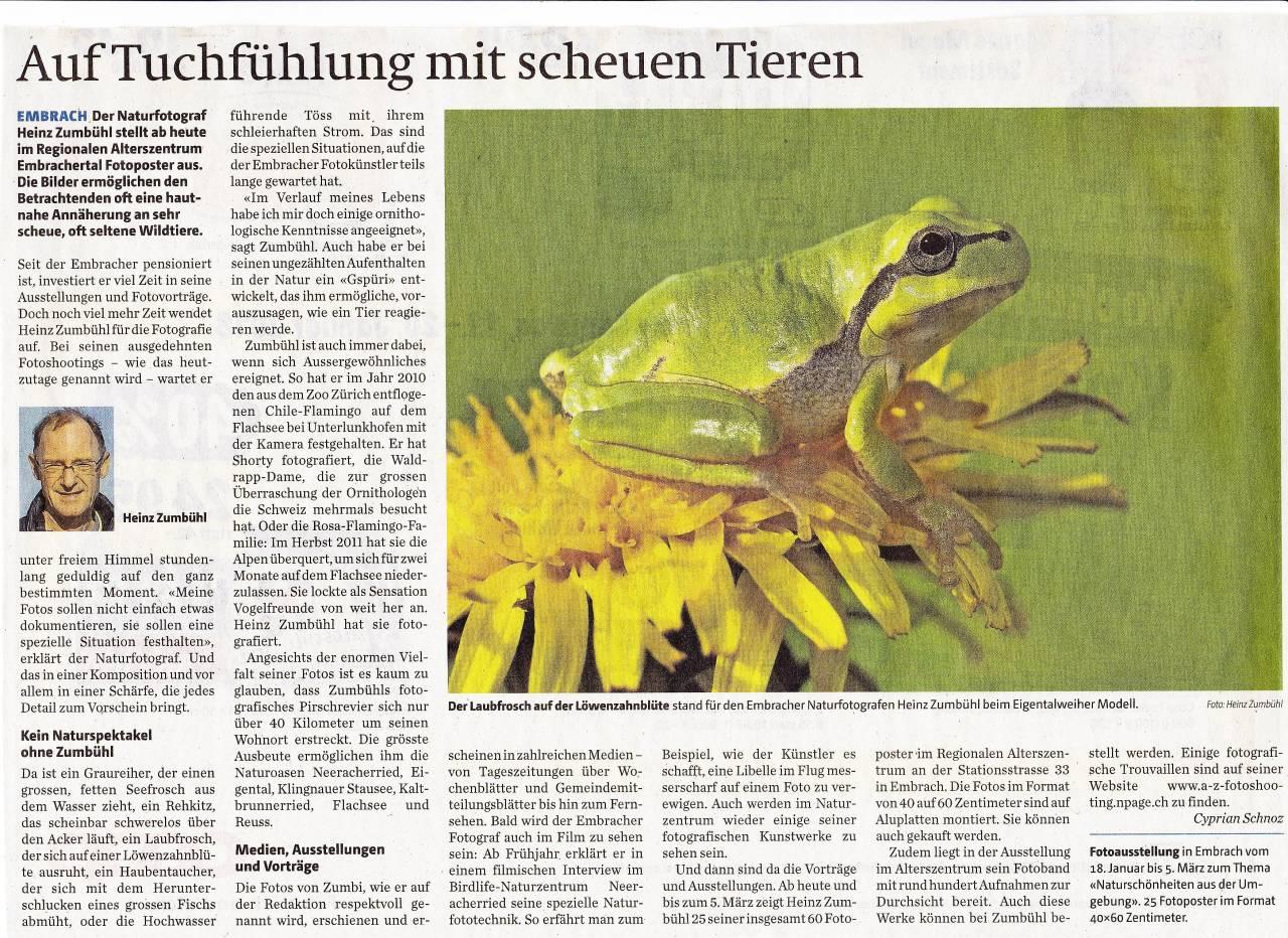 Zeitungsbericht Zürcher Unterländer vom 18. Januar 18