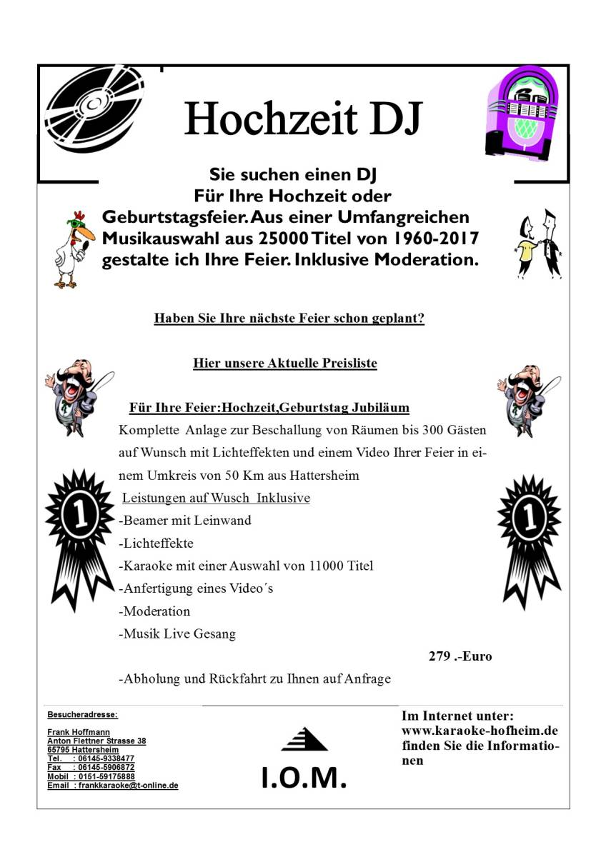Hochzeit DJ Preisliste