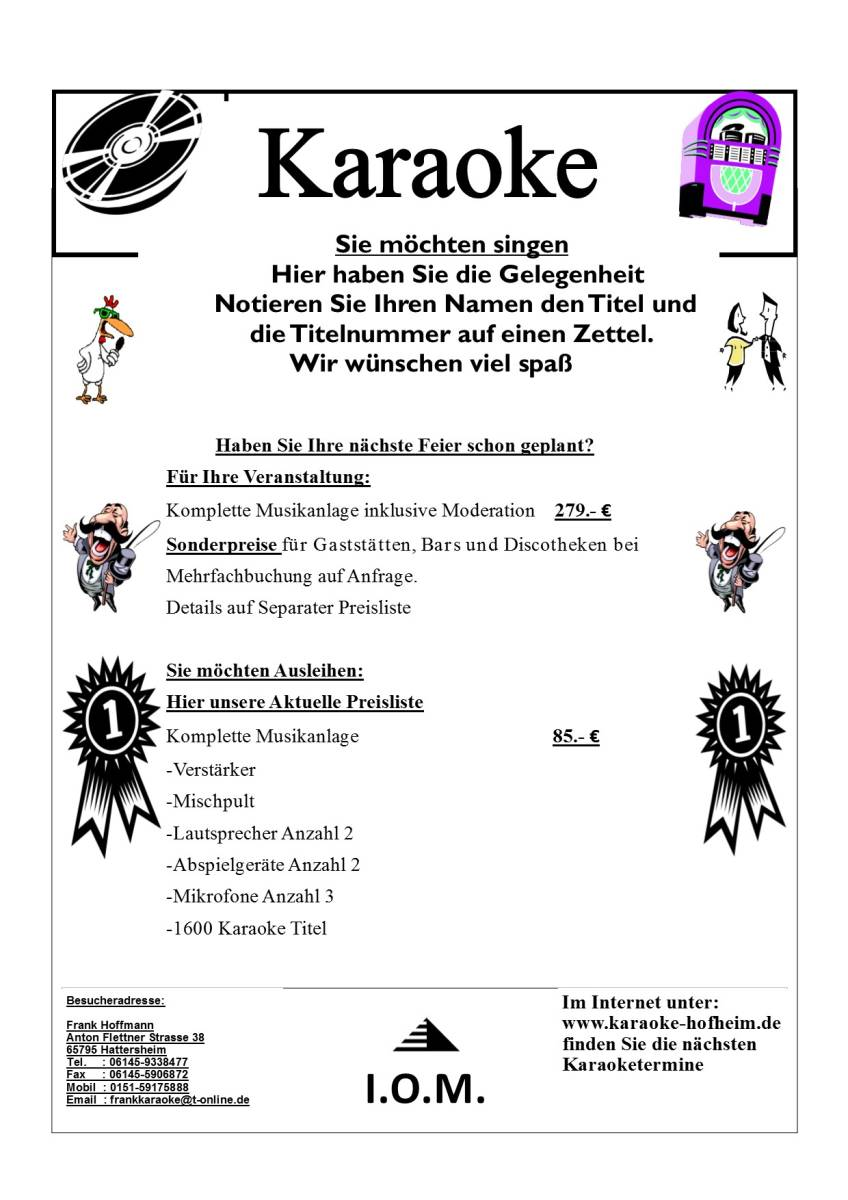 Karaoke Preisliste