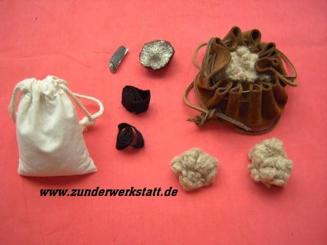Markasit Feuerstein Rohrkolbenzunder Baumwollzunder, das Überlebenswerkzeug in der Steinzeit
