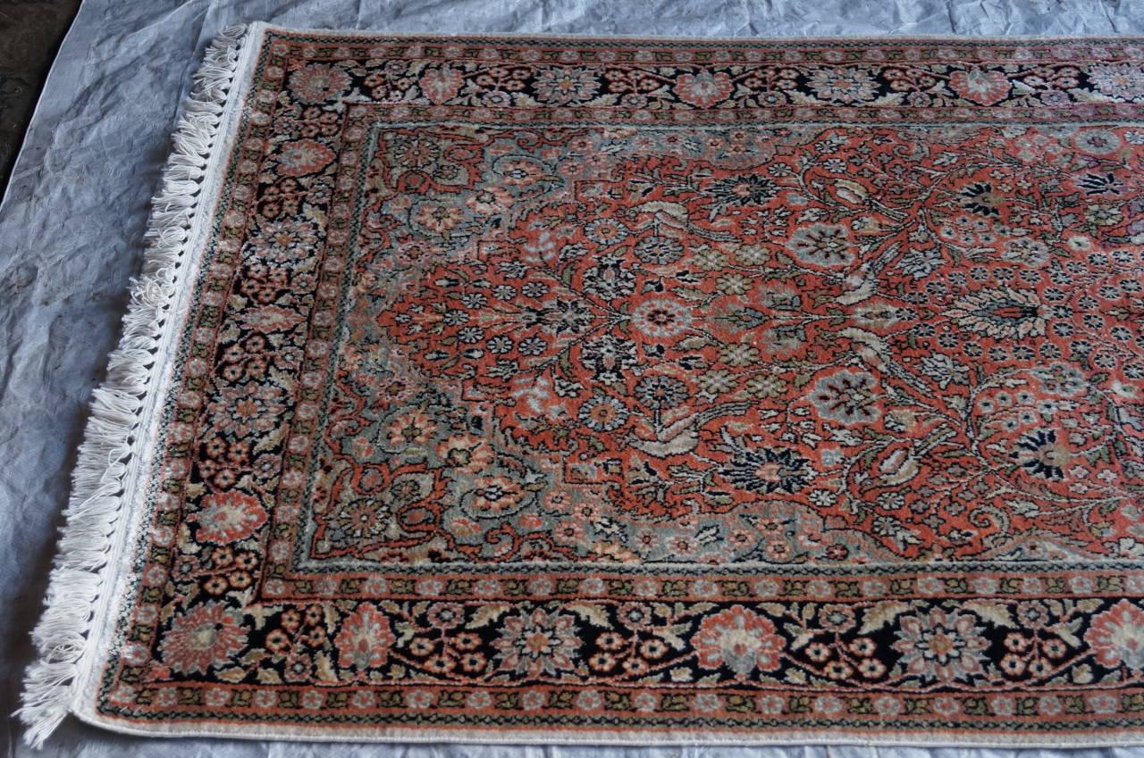 Authentique Grand Tapis Ancien Cachemire En Soie 214x121 Cm D 39 Un Ch Teau Bdx