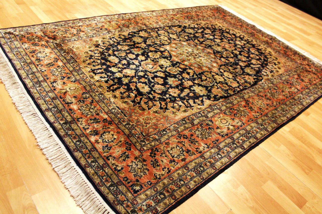 Authentique grand vieux tapis cachemire en soie 232x150cm - Nettoyage tapis de soie ...